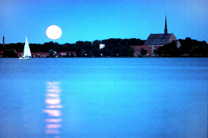 Måne över Vadstenaviken
